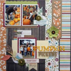 STRIPES + PUNCHY FLORAL - Pumpkin Pickers - Creative Team Layouts - Gallery - Get It Scrapped