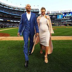 ": ""Derek Jeter and his wife Hannah Davis walk off the field after the retirement ceremony of Derek…"""