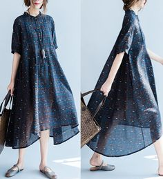 the dotted gribs navy summer dresses plus size cotton dresses caual linen dress flowy sundresses Plus Size Summer Tops, Maxi Robes, Types Of Fashion Styles, Dress Me Up, Cotton Dresses, Women Wear, Summer Dresses, Sun Dresses, Couture