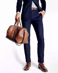 Weekender bag, modern blue suit.