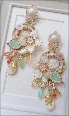 Soutache Earrings, Beaded Brooch, Bridal Earrings, Pink Jewelry, Fabric Jewelry, Bead Jewellery, Beaded Jewelry, Lesage, Handmade Jewelry Designs