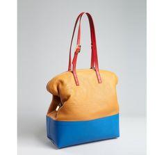 Fendi sepia and cerulean leather '2bag' bi-color tote | BLUEFLY up to 70% off designer brands