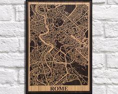 WOOD PRINT Wood map art, Rustic wood print, Rome Italy city map panel effect art print on wood, Home decor Rustic map of Rome art print by Woodprintz on Etsy