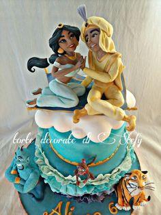 Jasmine and Aladdin cake - Cake by stefania Jasmine Birthday Cake, Birthday Cake Girls, 5th Birthday, Aladdin Cake, Aladdin Party, Cake & Co, Cake Art, Princess Jasmine Cake, Cake Designs For Kids