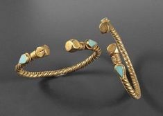 ISLAMIC PAIR OF GOLD BRACELETS       DATE:  7th Century AD - 11th Century AD  CULTURE:  Islamic