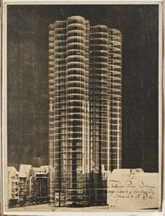 Photomontage showing the model for a Glass Skyscraper for the Berlin Friedrichstrasse — Ludwig Mies van der Rohe, 1922 Photomontage 39 x 29.5 cm / 15 3/8 x 11 5/8 in