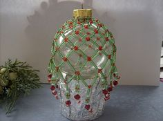 Green & Red Christmas Beaded Ornament Cover