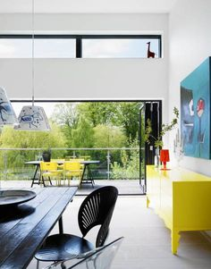 Pops of color in a house in Odense, Denmark