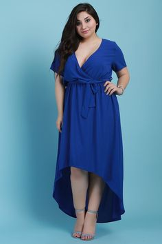 485520e8f5e Surplice V-Neck Self-Tie High Low Maxi Dress