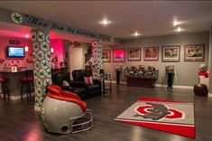 Turning Your Basement into the Ultimate Man Cave Can Be Fun - Man Cave Home Bar Ohio State Rooms, Ohio State Decor, Ohio State Game, Ohio State Wreath, Ohio Map, Ohio State Football, Buckeyes Football, Sports Theme Basement, Buckeye Bars