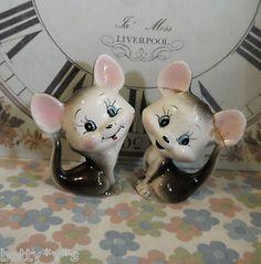 2 Vintage ceramic mice salt and pepper shakers