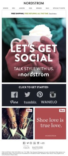 Nordstrom creates emails with Pinnable content.