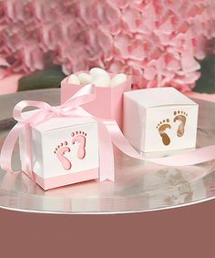 Another great find on #zulily! Pink Baby Footprint Favor Box - Set of 12 #zulilyfinds