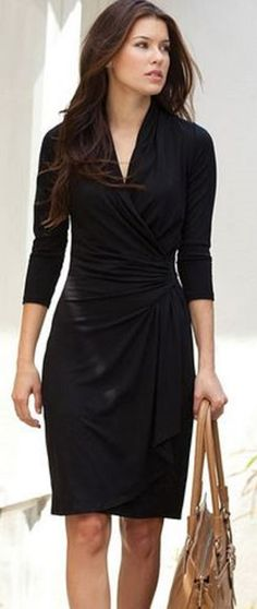 Would love tofind a black wrap dress that was not so thin, more structure so as not so revealing. Love this look