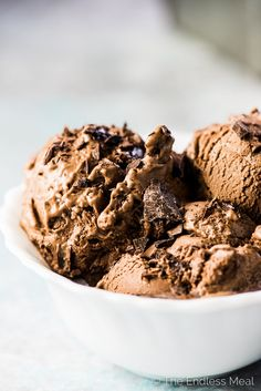 SAVE FOR LATER! Chocolate Banana Ice Cream tastes EXACTLY like chocolate ice cream and is made with only 3 ingredients and theyre all healthy. My favorite way to eat it is as soft serve right out of the blender but you can also freeze so its firm enough to scoop into ice cream cones. | vegan + gluten-free + paleo | #theendlessmeal #bananaicecream #chocolateicecream #vegan #paleo #glutenfree #healthyicecream