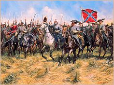 Brandy Station,Virginia , Robert E. Lee, J.E.B. Stuart and Lee's party thundered down a three mile long line of troops with 10,000 glittering sabers in the air. The flag of the Army of Northern Virgin