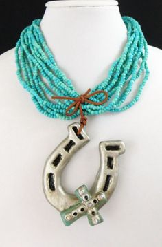 Cowgirl Bling Western HORSESHOE CROSS huge! Turquoise Gypsy necklace our prices are WAY BELOW RETAIL! all JEWELRY SHIPS FREE! www.baharanchwesternwear.com baha ranch western wear ebay seller id soloedition