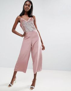 2301ba1896 ASOS Sequin Jumpsuit with Raw Edge Detail and Culotte Leg at asos.com