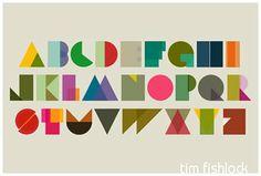 Shapeset alphabet poster by Tim Fishlock Typography Alphabet, Typography Love, Alphabet Posters, Printable Alphabet, Free Printable, Design Graphique, Art Graphique, Geometric Font, Abc Poster