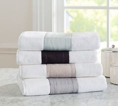 A band of linen details our plush cotton towels, perfect for setting off an embroidered monogram. Bath Linens, Bath Towels, Bed N Bath, Cotton Towels, Pottery Barn, Monogram, Band, Master Bathroom, Sash