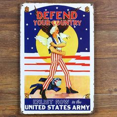 DEFEND YOUR COUNTRY UNITED STATE ARMY Vintage Tin Sign Art Poster Bar Retro Metal Painting Pub Home Wall Decor