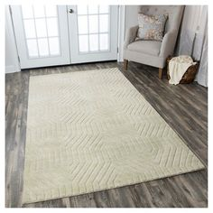 Rizzy Home Technique Collection Hand-Loomed 100% Wool Area Rug, Lt Grey, Durable