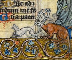 manticore bishop with a smiling dog 'The Maastricht Hours', Liège 14th century (British Library, Stowe 17, fol. 131r)
