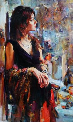 (Russia) Beautiful gaze by Michael & Inessa Garmash , ). oil on canvas. Oil Painting App, Cave Painting, Woman Painting, Watercolor Painting, Classical Art, Beautiful Paintings, Fine Art Paintings, Horse Paintings, Indian Paintings