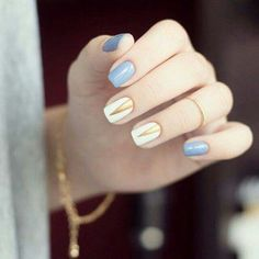 nails, blue, and gold resmi