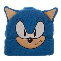 Sonic the Hedgehog Big Face 3D Beanie Hat with Plush Quills SEGA Blue Bioworld  #Bioworld #Beanie