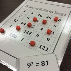 Squares and Roots Bingo! Great way for middle school math students to practice their squares and square roots! Comes with 30 game boards and calling cards. The game can be used as a whole group, small group math centers, or for math intervention.