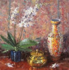 Still Life with Chinese Vase \\ Artist - Eugene J. Monet, 7 Arts, Critique D'art, Wonderland, Art Studies, Vases Decor, Drawing, Paintings For Sale, Impressionist