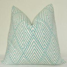 Pillow Cover, Decorative Pillow, Throw Pillow, Toss Pillow, Sofa Pillow, Seafoam Geometric, Aqua Trellis, Home Furnishing, Home Decor on Etsy, $39.00