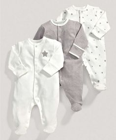 Unisex Essentials Three Pack of Millie and Boris All in Ones - 3 For 2 Baby Basics - Mamas & Papas
