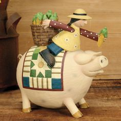 Girl Riding Pig with Corncob Figurine