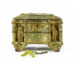 item: French Tahan cameo-inset gilt bronze and enamel jewel casket, oval form, the cameo with Nativity scene deco. on Jul 2016 Jewelry Dresser, Jewelry Box, Bronze Jewelry, Casket, Vanity Set, Oriental Rug, 19th Century, Decorative Boxes, Auction