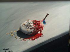 """Rotten Egg"" acrylic on canvas board by Shaun Lambert 2011"