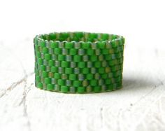 Green beaded ring peyote ring green band ring by Seed Bead Earrings, Seed Beads, Bead Jewelry, Unique Jewelry, Bead Loom Bracelets, Cuff Bracelets, Crystal Beads, Crystals, Stud Earrings
