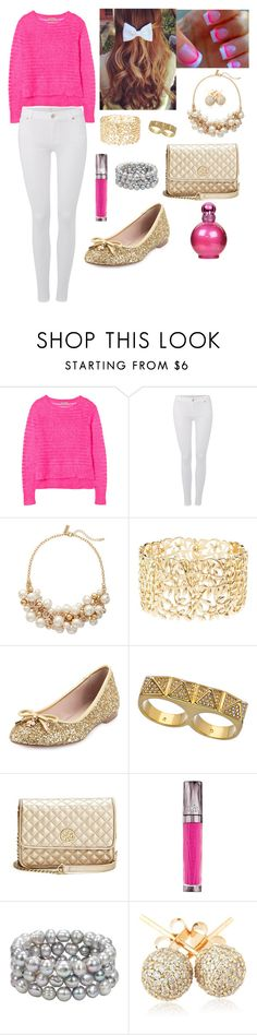 """""""Perfect pink"""" by jvany26 ❤ liked on Polyvore featuring Rebecca Taylor, 7 For All Mankind, The Limited, Charlotte Russe, Kate Spade, Erica Anenberg, GUESS, Urban Decay, Honora and Britney Spears"""