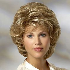 Towheaded Curly Stunning Short Side Bang Synthetic Brown Blonde Mixed Capless Women's Wig