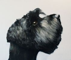 poodle- oil on paper dog painting