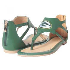 Green Bay Packers Packers Women's Flat Back Zip Sandal at the Packers Pro Shop