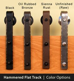 Real Sliding Hardware - Hammered Flat Track Kit, $393.00 (http://www.realslidinghardware.com/Hammered-Barn-Door-Hardware-Kit/)