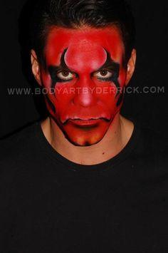 Maquillaje diablo negro buscar con google for Cara pintada diablo