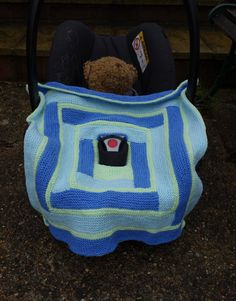 Hand knitted car seat baby blanket/ car seat by TheOwlmadeit