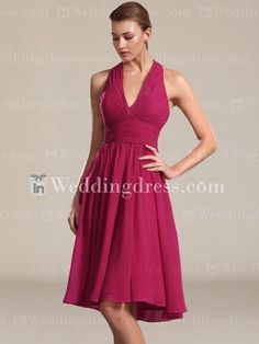 Short Chiffon Halter Bridesmaid Gown  (i would have it in a deep purple tho)