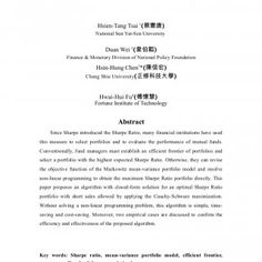Applying Cauchy-Schwarz Maximization to Optimal Portfolio Decision with Short Sales Allowed Hsien-Tang Tsai 1(蔡憲唐) National Sun Yat-Sen University Duan Wei. http://slidehot.com/resources/doc.22382/
