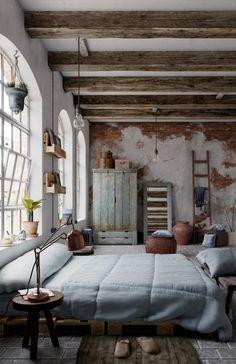 Via – Rustic Bedroom is designed by Jose Olmedo. Via – Rustic Bedroom is designed. Bohemian Style Bedrooms, Rustic Bedrooms, Bohemian Decor, Girl Bedrooms, Italian Home, Style Deco, Rustic Interiors, Home Fashion, Industrial Interiors