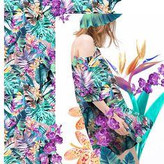 A estampa 92424D da coleção Alto Verão 2016 está lindíssima! Ela é super tropical e ao mesmo tempo delicada e feminina. Fizemos uma montagem para você se inspirar! #kalimo #prints #colors #tendência #fashion #inspiration #cool #labk