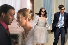 Keira Knightley with Chiwetel Ejiofor in Love Actually (2003); with husband James Righton, 2013